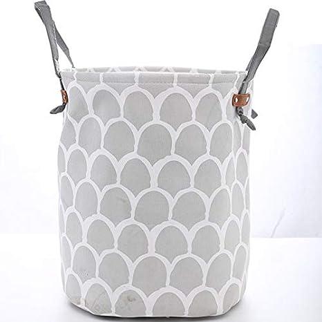 Barils de Stockage en Coton Spot Gris Seau /à Linge Sac de Rangement Bo/îte de Rangement avec poign/ées pour v/êtements et Jouets 35 Leisial 40cm
