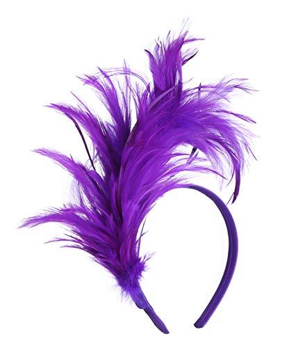 Felizhouse 1920s Fascinator with Feathers Headband for Women Kentucky Derby Wedding Tea Party Headwear, Mardi Gras Purple, One Size