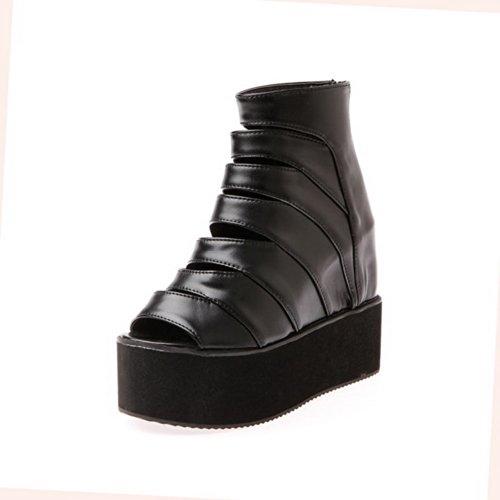 Zeppe Pu Morbido Toe Tacco Peep Womens Open Voguezone009 Solidi Materiale Nero Cerniera Sandali Con Alto Uk 5 wzt0Yx