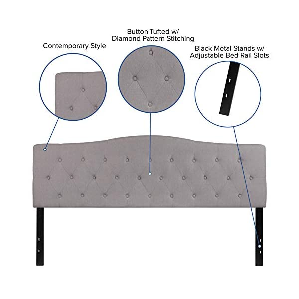 Flash Furniture Cambridge Tufted Upholstered King Size Headboard in Light Gray Fabric
