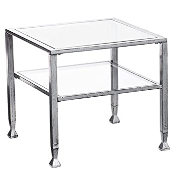 Southern Enterprises Glass Cocktail Table, Silver Frame Finish