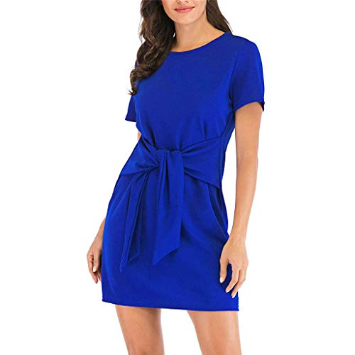 (Women's Short Sleeve Solid Casual Dresses, AmyDong Round Neck Tie Knot Front Bandage Pencil Dress Blue)