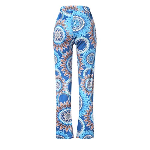 Pervobs Women Summer Casual Boho Floral Printing High Waist Wide Leg Pants Holiday Daily Loose Leggings Trouser(M, Blue) by Pervobs Women Pants (Image #6)