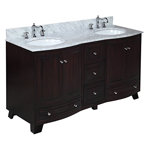 Kitchen Bath Collection KBC777BRCARR Palazzo Double Sink Bathroom Vanity  with Marble Countertop  Cabinet with Soft Close Function and Undermount  Ceramic. Bath Sink Cabinets  Amazon com
