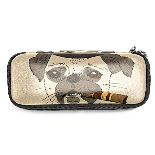 MAPOLO Pug Dog with Cigar Cool Guy Gangster Pencil Case Pencil Bag Makeup Pouch Students Stationery Pen Holder for School/Office -