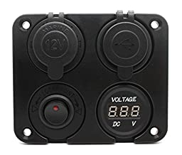 Cllena Dual USB Charger + LED Voltmeter + 12V Power Socket + ON-OFF Button Switch Four Hole Panel for Car Boat Marine Truck Motorcycle RV ATV Vehicles GPS Mobile Phone Camera Mp3