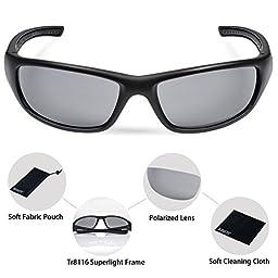 Duduma Tr8116 Polarized Sports Sunglasses for Baseball Cycling Fishing Golf Superlight Frame(Black matte frame with black lens)
