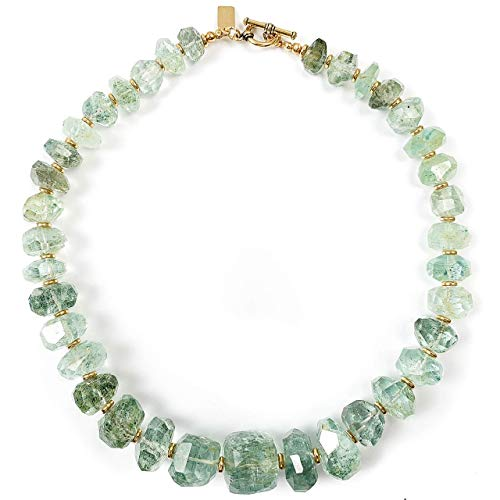 Large 600 Carat Moss Aquamarine Nugget Statement Necklace One of a Kind - 17.5 Inches Long Handmade Necklace by Miller Mae Designs ()