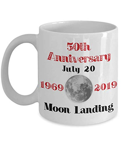 50th Anniversary of First Moon Landing July 20 2019 Mug Apollo 11 Commemoration Gift 1969 Lunar Land USA Ceramic Coffee Cup