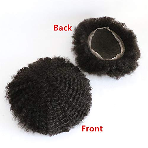 Lumeng Man Weave Hair Unit African Hair Weave for Men African Mens Wig Black Men Curly Wig 100% Human Hair African American Toupee for Men Man Weave Hair Unit All French Lace Base 1# Jet Black