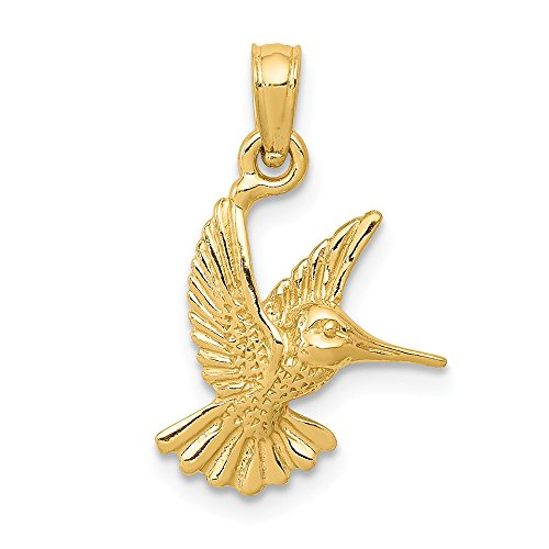 Mia Diamonds 14k Solid Yellow Gold Hummingbird Pendant (20mm x 13mm)