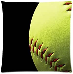 Yellow Softball Cotton Pillow Case Cover Standard Size 18x18 inch (one side)