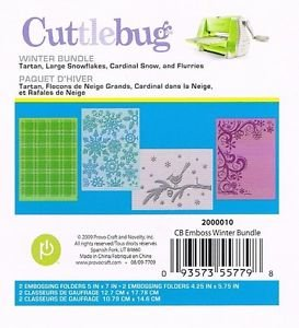 Cuttlebug Winter Bundle Embossing Folder Set Tartan Large Snowflakes Cardinal Snow and Flurries