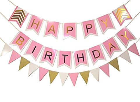 Keira Prince Happy Birthday Banner Set, Pink With White Trim, Gold Letters & Stylish Gold Chevron Accents & Matching Triangle (White And Gold Supplies)