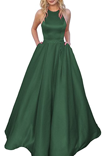 Women's Halter A-line Beaded Satin Floor Length Evening Gown Prom Dress with Pockets Size 16 Green