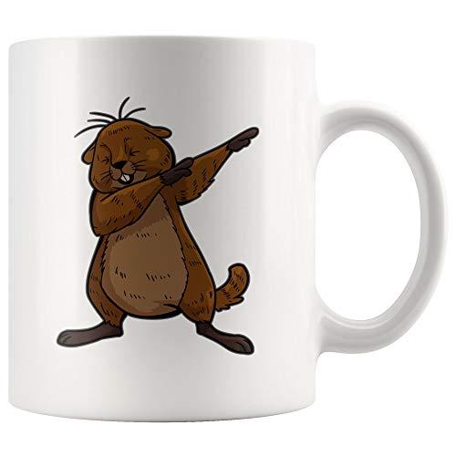 - Groundhog White Coffee Mug 11 oz, Dabbing Beaver Gifts for Zoologists Animal Lovers