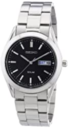 Seiko Men's Solar SNE039 Silver Stainless-Steel Quartz Watch with Black Dial