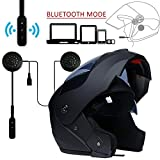 MOPHOTO Full Face Motorcycle Bike Helmet w/Bluetooth Headset, Modular Flip Up Dual Visor