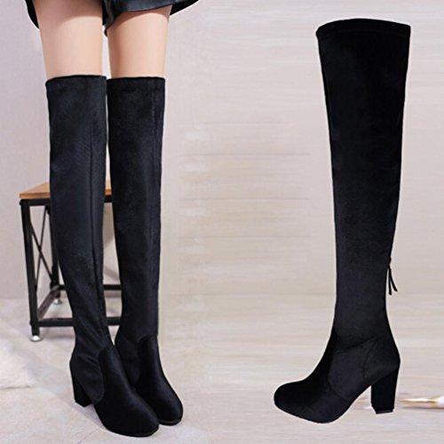 TPulling Herbst Und Winter Schuhe Mode Damen Gold Samt High Heel Mit Kniestiefel Schwarz