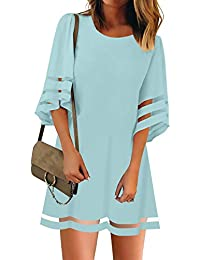Women's 3/4 Bell Sleeve Shirt Mesh Panel Blouse V Neck Casual Loose Tops
