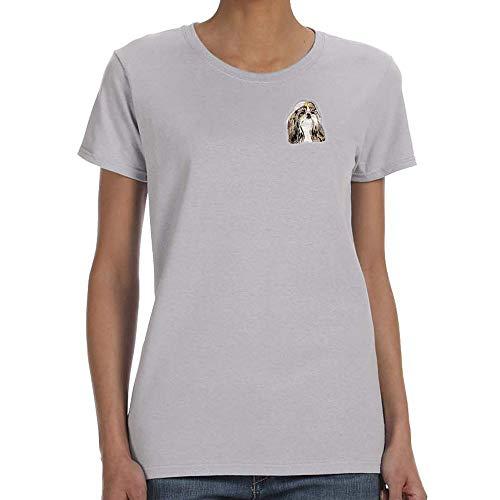 (Cherrybrook Dog Breed Embroidered Womens T-Shirts - Large - Sport Gray - Shih Tzu)