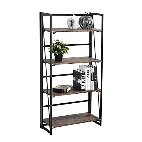 - Coavas Folding Bookshelf Rack 4-Tiers Bookcase Home Office Shelf Storage Rack No-Assembly Industrial Stand Sturdy Shelf Organizer 23.6 X 11.8 X 49.4 Inches