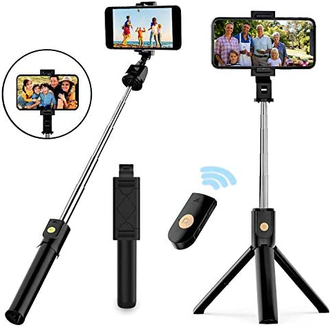 Selfie Stick Tripod, Extendable Bluetooth Selfie Stick with Wireless Remote, Compatible with iPhone 11/11 professional/X/8/8P/7/7P/6s/6, Samsung Galaxy S9/S8/S7/Note 9/8, Huawei and More