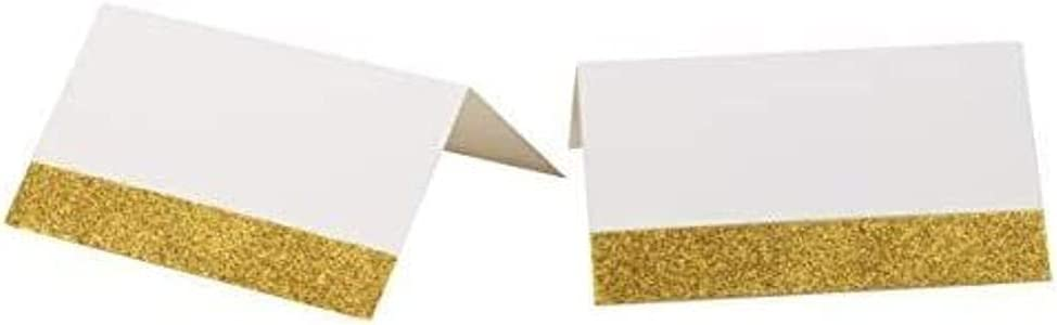 Gold Glitter Tent Seating Place Cards (2 x 3.5 Inches, 100-Pack)