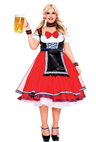 Music Legs Women's Plus Size Oktoberfest Beer Girl, Red, 3X/4X -