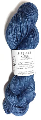 Hand Dyed Alpaca Silk Yarn, Kettle Dyed: Natural Indigo Blue, Dk Weight, 100 Grams, 245 Yards, 70/30 Baby Alpaca/Mulberry ()