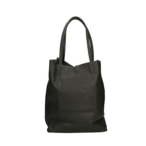 en bolsa cuero genuino de Cm hombro in Italy Made Mujer Aren Negro 27x33x13 15RWIq