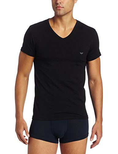 Emporio Armani Men's Cotton Stretch V-Neck Tee, Black, Small
