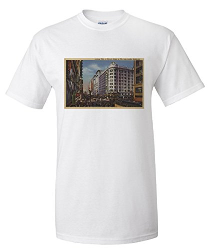 Los Angeles, CA - View of Warner Bros. on 7th St. (White T-Shirt - Ca 7th Angeles St Los