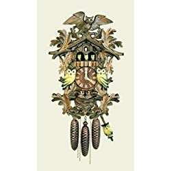 Original Eight Day Movement Cuckoo Clock with Dancing and Moving Owls 20.5 Inch