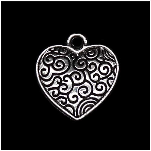 Pack of 80 Designer Heart Charms Pendants Silver Craft Supplies for Jewelry Making Tibetan Accessories for Bracelets Necklace DIY]()
