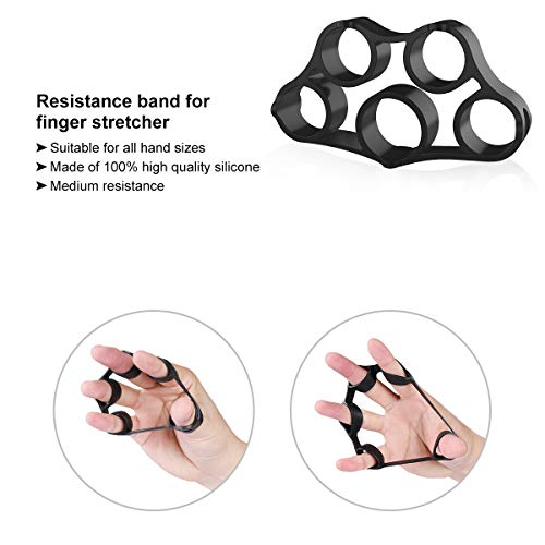 Hand Grip Strengthener Forearm Grip Workout Kit, 5 Pack Adjustable Resistance Hand Gripper, Finger Stretcher, Finger Exerciser, Grip Strength Ring & Stress Relief Grip Ball for Athletes (Black)