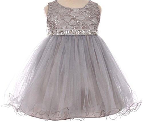 Baby Girls Sleeveless Sequins Rhinestones Tulle Pageant Flower Girl Dress Silver S (M3B4K0)]()