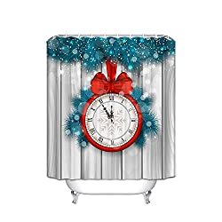 FANNEE Red Bow Scale Clock Blue Green Christmas Tree Gray Vertical Stripes Theme Polyester Shower Curtain Curtain, Hotel Quality, Waterproof, Mildewproof, Clean, 54X78 Inches