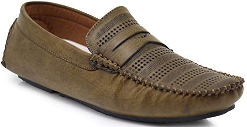 ht Casual Perforate Cruise Venetian Classic Driving Moccasin Penny Loafer Driver Shoes (11 D(M) US, Olive) ()