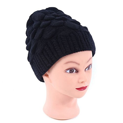 XY Fancy Winter Warm Thick Slouchy Knitted Beanie Cap Hat for Elder Gift Black