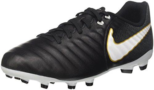 Nike Kids' Tiempo Ligera IV FG Soccer Cleats (3.5 Big Kid M) Black/White (Nike Mens Tiempo Ligera Iv Fg Soccer Cleats)