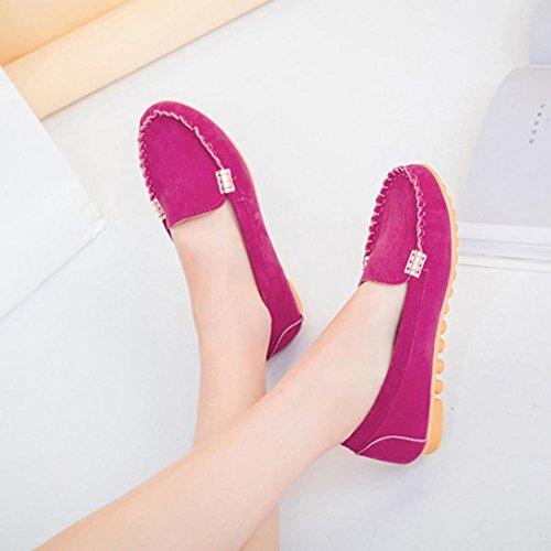 Kvinners Arbeid Sko, Sikye Skinn Loafers Sko Behagelig Myk Slip-on Tilfeldige Leiligheter Båt Sko Hot Pink