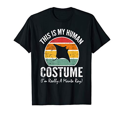 Cute Vintage Manta Ray My Human Costume Funny Rainbow Tee