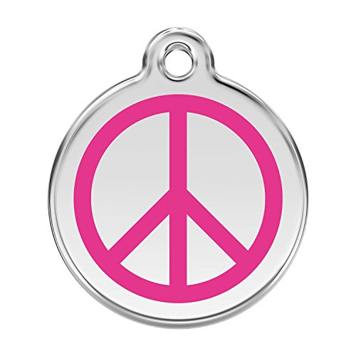 Red Dingo ~ Stainless Steel with Enamel Dog, Cat, Pet I.D. Tag - PEACE SIGN (USPS Shipping W/ Tracking) (Small - 0.8