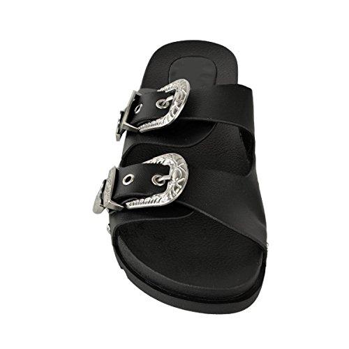 Zapatos Sintética tachonada Negro Sandalias Thirsty 8 Piel Fashion Mujer Talla Pantuflas Verano 3 heelberry Hebilla Deslizables qIxzFa6w