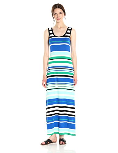 Calvin Klein Women's Sleeveless Stripe Maxi Dress, Manganese Combo, L