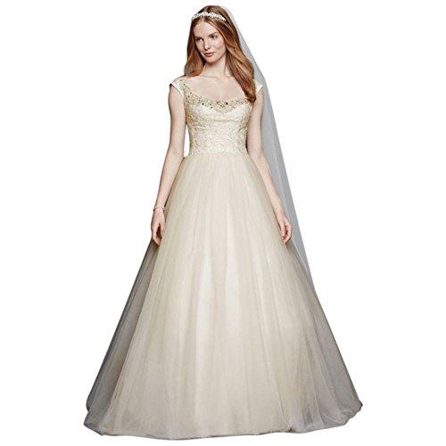 David's Bridal Oleg Cassini Embellished Tulle Wedding Dress Style CWG733, White, (Oleg Cassini Davids Bridal)