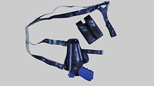 - K445092 Leather Vertical- Horizontal Shoulder & Belt Holster RH Fits GLOCK 17 19 22 23 26 27 Handmade! (3in1) (Black)