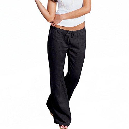 iYYVV Plus Size Womens Ladies Low Waist Pocket Elastic Trousers Baggy Wide Leg Pants Black