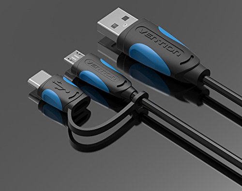 Vention 2 in 1 Type-C And Micro USB 2.4A Fast Charging Data Sync & Charge Cable for Android ,Nexus 5X Nexus 6P for OnePlus 2 ZUK Z1 Xiaomi 4C MX5 Pro And Othe Compatible Devices